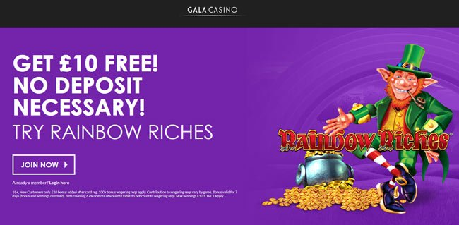 Gala Casino £10 bonus without deposit