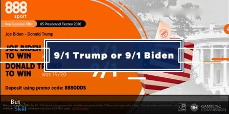 Get 9/1 Trump or 9/1 Biden to win with 888sport US Election Odds